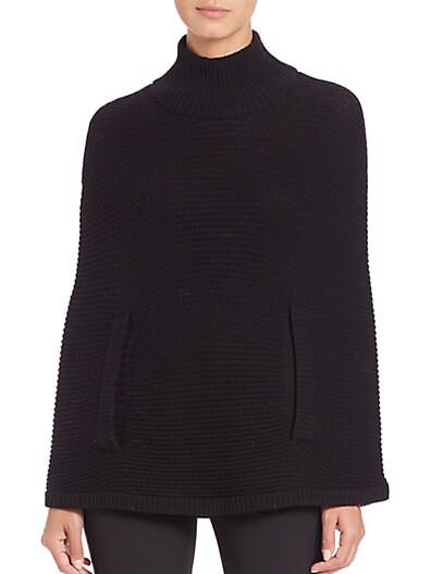 Halston Heritage Mockneck Knit Poncho In Black
