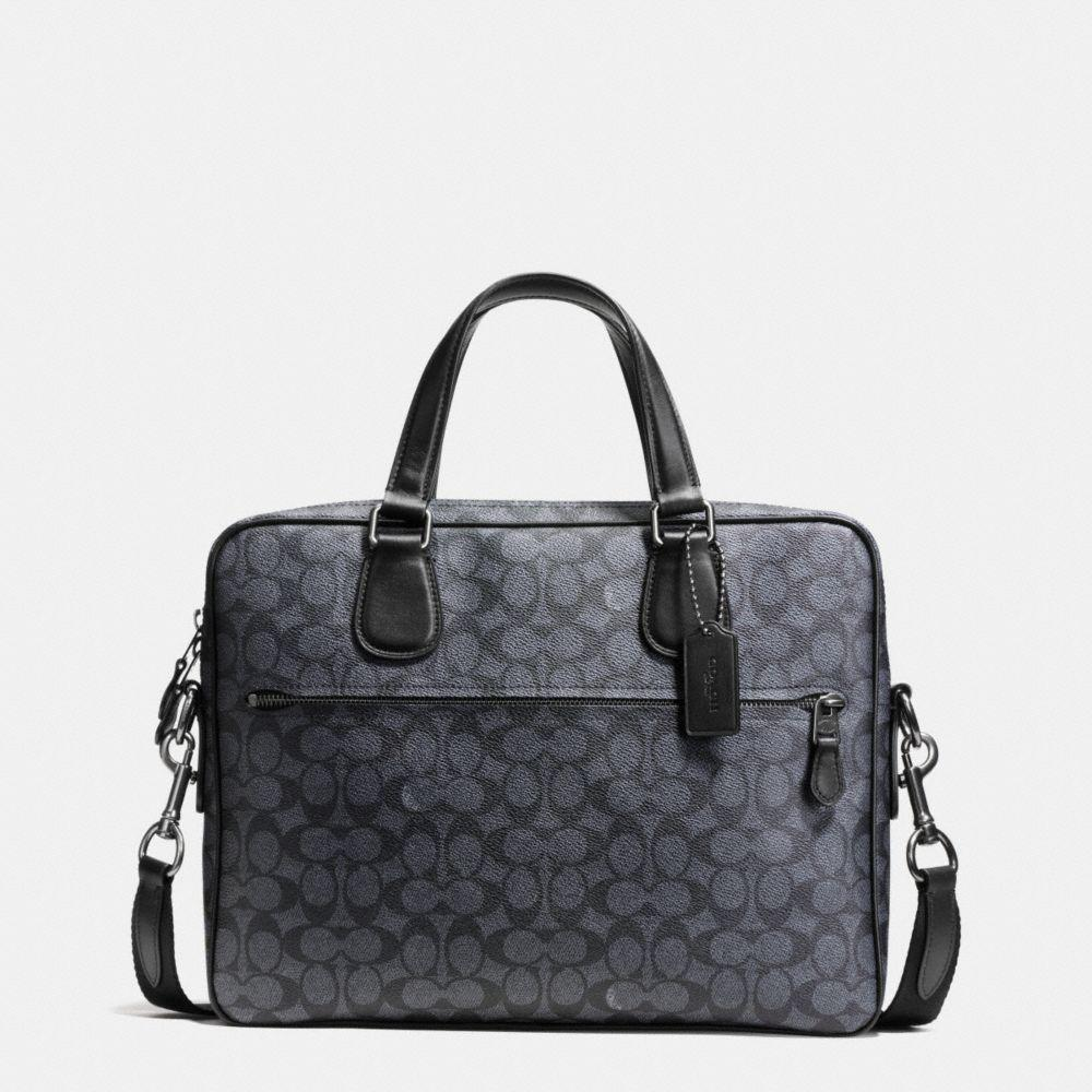 Coach Hudson 5 Bag In Signature Coated Canvas In : Black Antique Nickel/charcoal