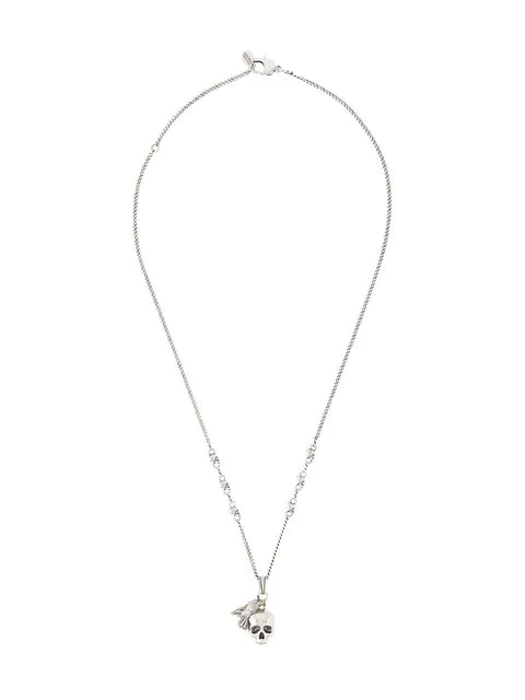 Alexander Mcqueen Skull And Bird Charm Necklace In Metallic