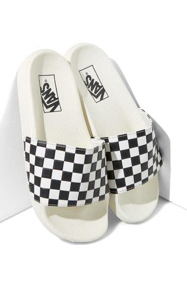 Vans 'slide-on' Slide Sandal (women) In White/ Black Checkerboard