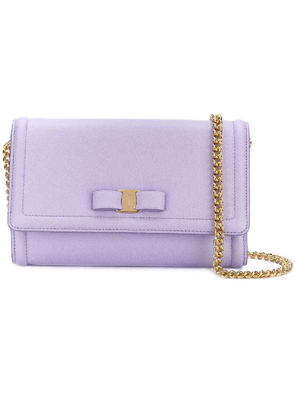Salvatore Ferragamo Vara Flap Bag In Pink & Purple