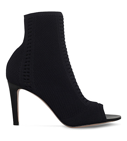 Gianvito Rossi Vires 105 Peep-toe Perforated Stretch-knit Sock Boots In Black