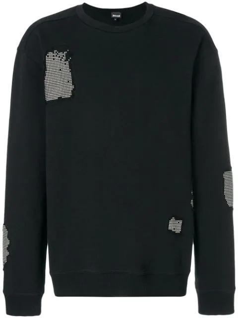 Just Cavalli Stud-patch Crewneck Sweatshirt In Black