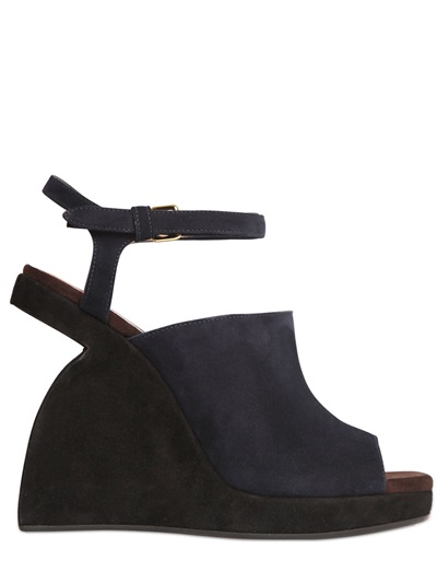Marni 110Mm Suede Platform Wedges, Black/Blue