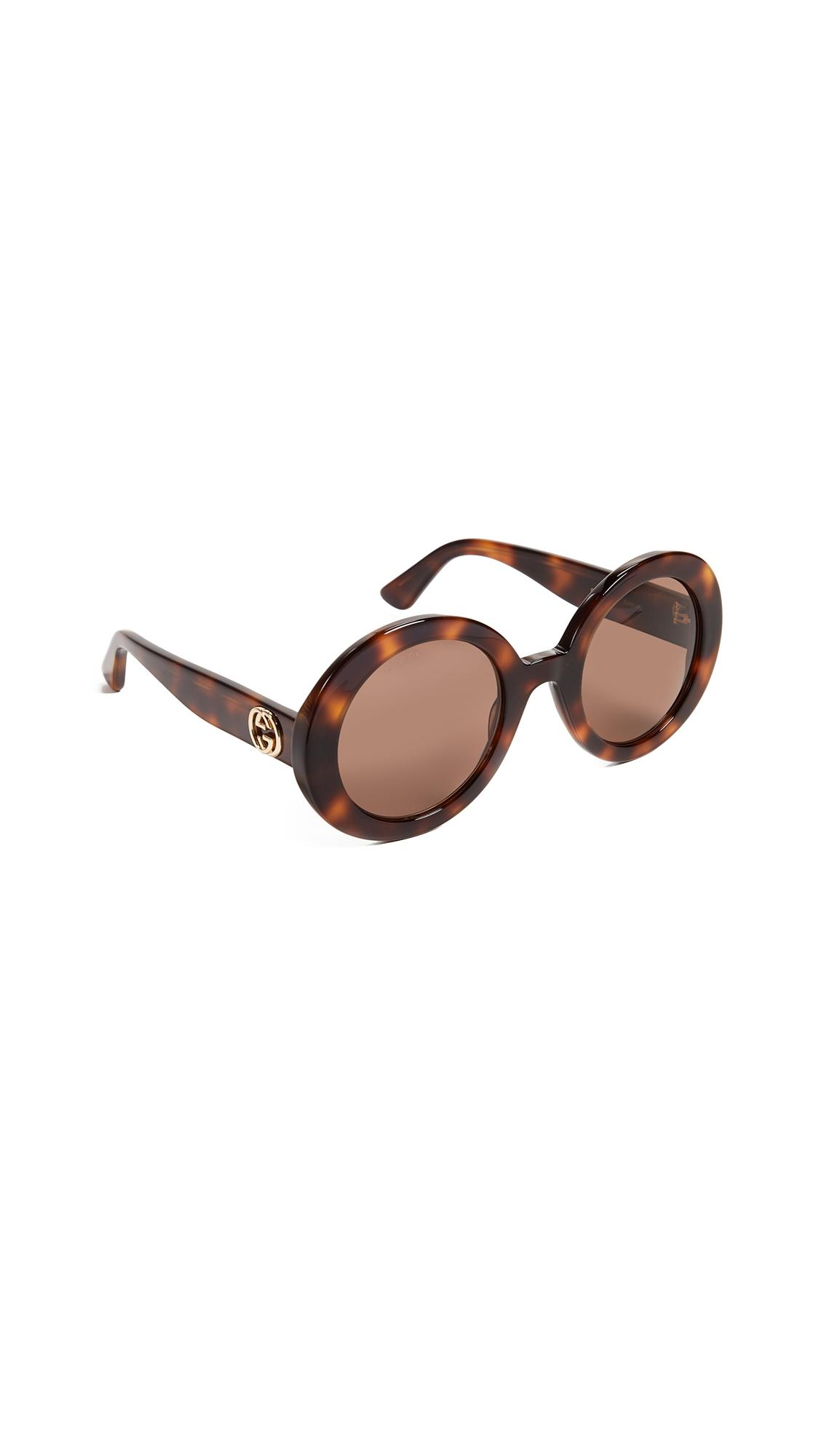 Gucci Gg Oval Sunglasses In Havana/Brown