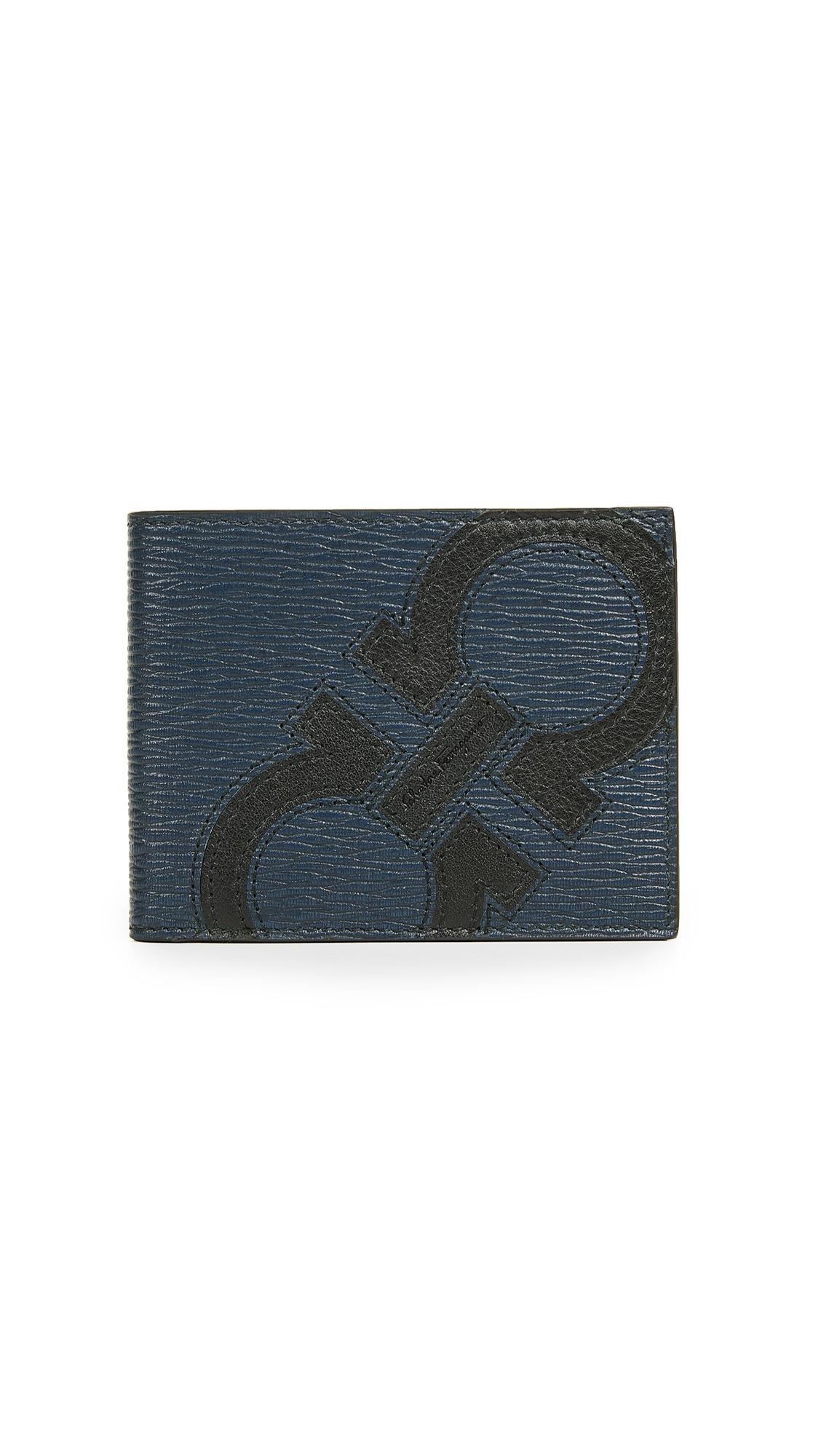 Salvatore Ferragamo Revival Maxy Billfold Wallet In Blue/Black