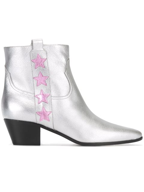 Saint Laurent Rock 40 Star Metallic Leather Boots In Silver