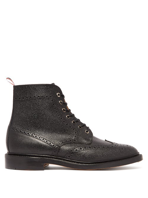a883df520b10e3 Thom Browne Classic Leather Wingtip Boots In Black | ModeSens