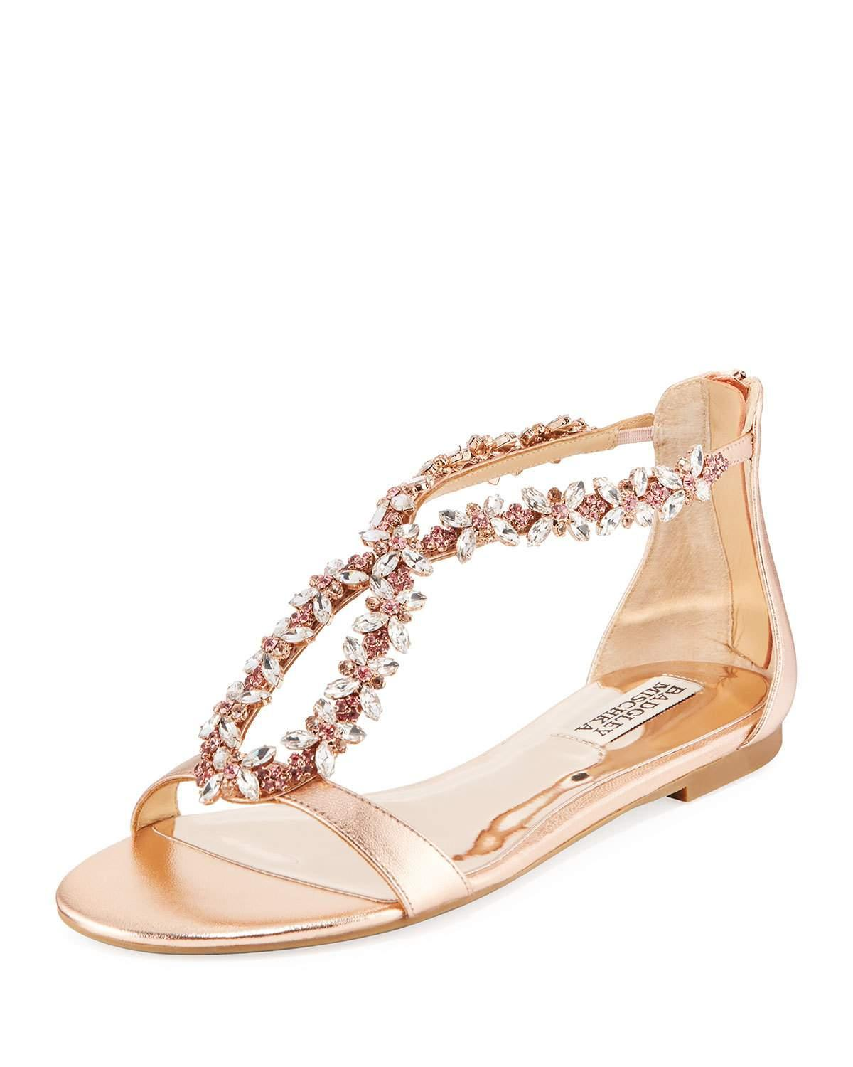 95dc456207e93d Badgley Mischka Haynes Jeweled Flat Metallic Leather Sandal In Rose ...