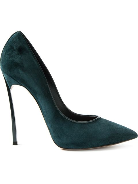 Casadei Suede Blade Pumps In Ivy