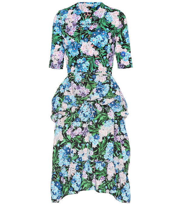 8f2b8471c362 Balenciaga Elbow-Sleeve Floral-Print Fit-And-Flare Dress In Blue ...