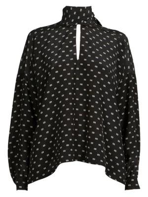 0a7cceeb7df502 Balenciaga Tie Neck Logo Print Silk Blouse In 1070 Black/   ModeSens