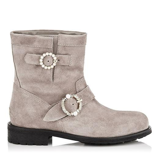 11c55137f047 Jimmy Choo Youth Opal Grey Velvet Suede Biker Boots With Pearl Embellished  Buckles In Multi