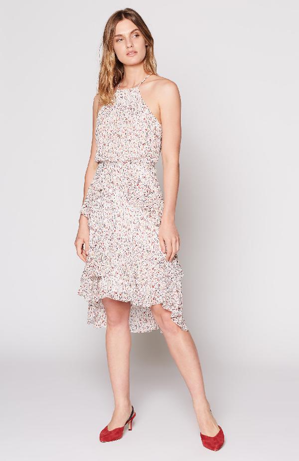 Joie Lamberta Halter Print High-Low Dress In Porcelain