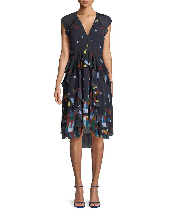 Joie Kiersten Printed Silk Ruffle Dress In Blue
