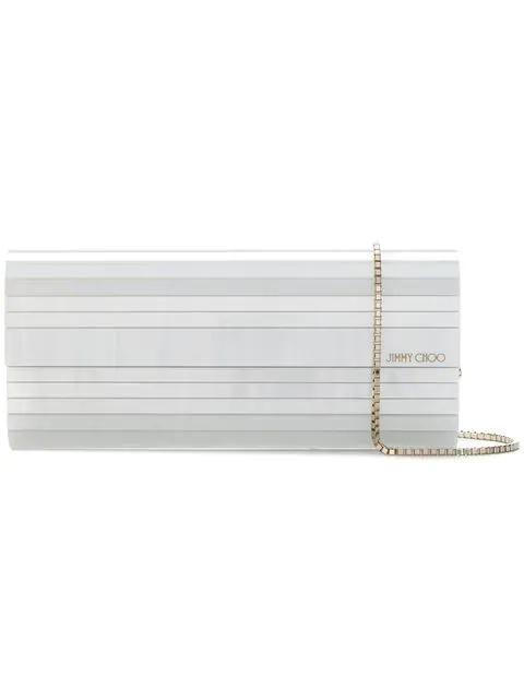 Jimmy Choo Sweetie Pearlised Acrylic Clutch Bag In White