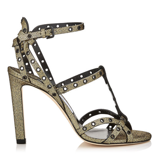 c556d7d202 Jimmy Choo Beverly 100 Gold Mini Cracked Leather Sandals With Black Eyelets  In Gold/Black