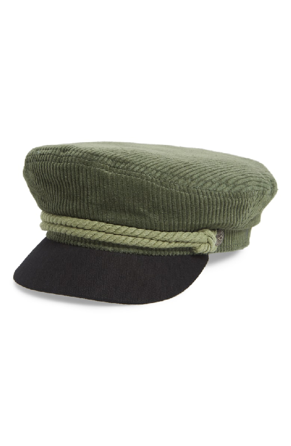 7b41bc2216ee4 Brixton Fiddler Corduroy Baker Boy Cap - Green In Green  Black ...