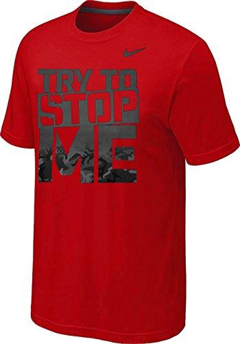Nike Try To Stop Me Stencil Block Camo Gradient Fill Font T-Shirt in Red