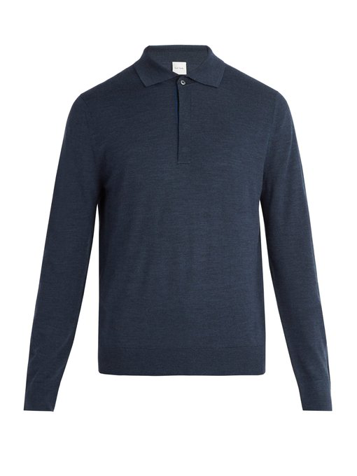 df90825a4 Paul Smith Long-Sleeved Fine-Knit Wool Polo Shirt In Navy | ModeSens
