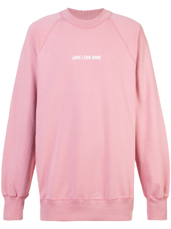 b2531d1596 AimÉ Leon Dore Logo Print Sweatshirt - Pink   ModeSens