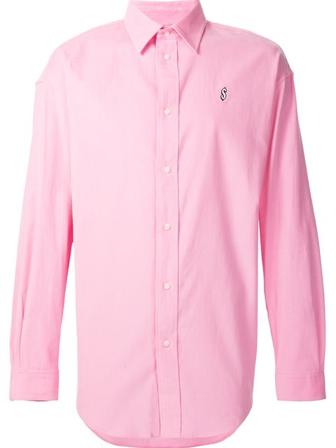 Alexander Wang Corduroy Shirt With Pocket Embroidery In Pink