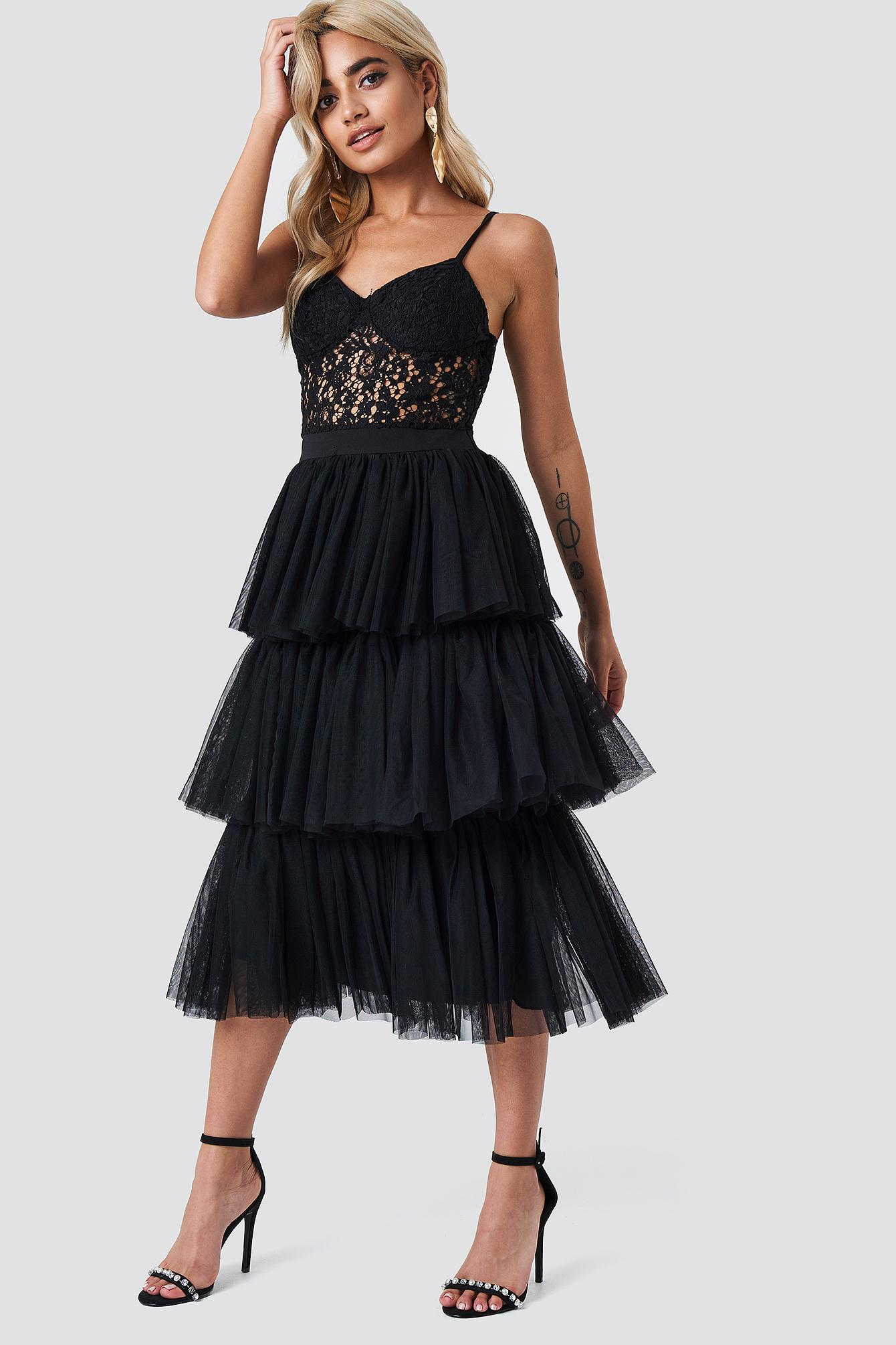 2948219341 Trendyol Tulle Frill Midi Skirt - Black | ModeSens