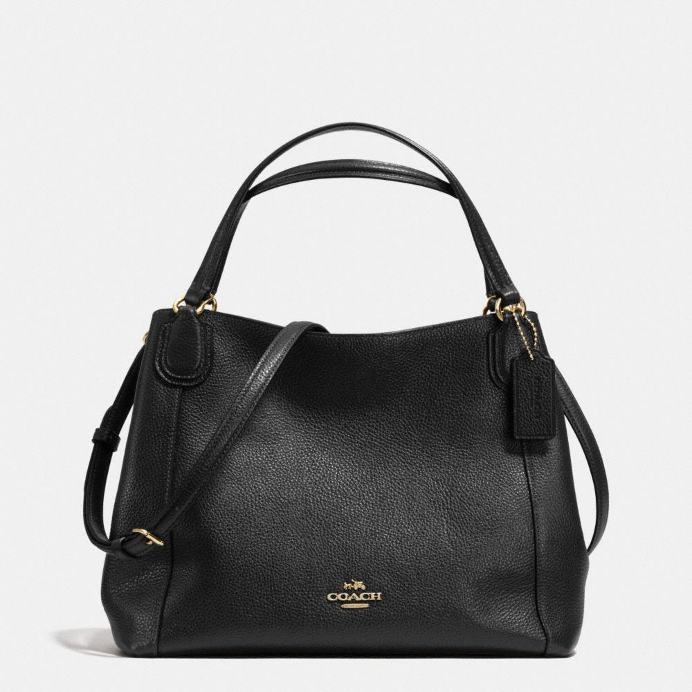 Coach Edie Shoulder Bag 28 In Pebble Leather In : Light Gold/black