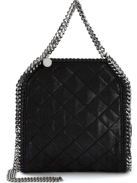 Stella Mccartney Black Falabella Studded Quilted Shaggy Deer Tiny Tote In Llack