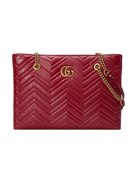 b00322a4f268 Gucci Gg Marmont 2.0 Matelasse Medium Leather East/West Tote Bag - Red