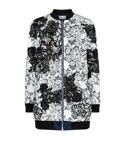 Self-portrait Floral Guipure Lace Bomber Jacket In White