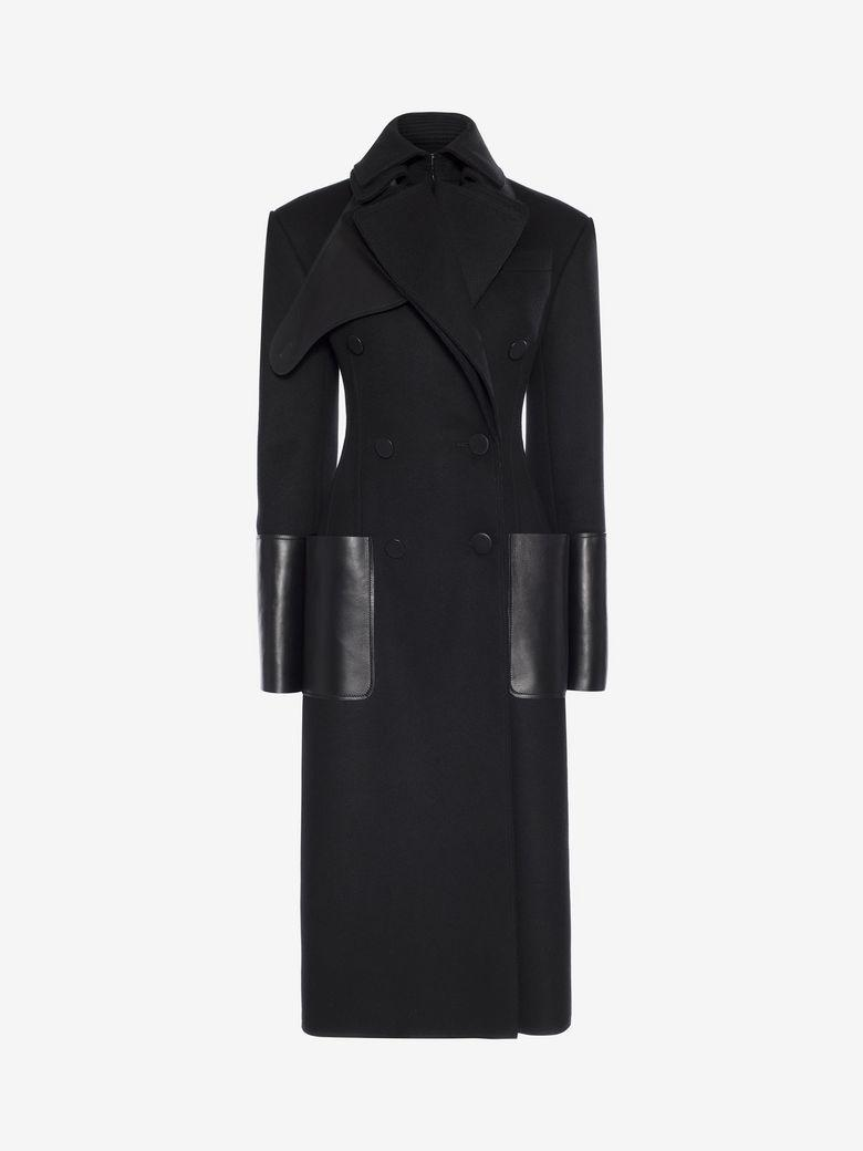 Alexander Mcqueen Leather-Panel Double-Breasted Wool-Felt Coat In Black