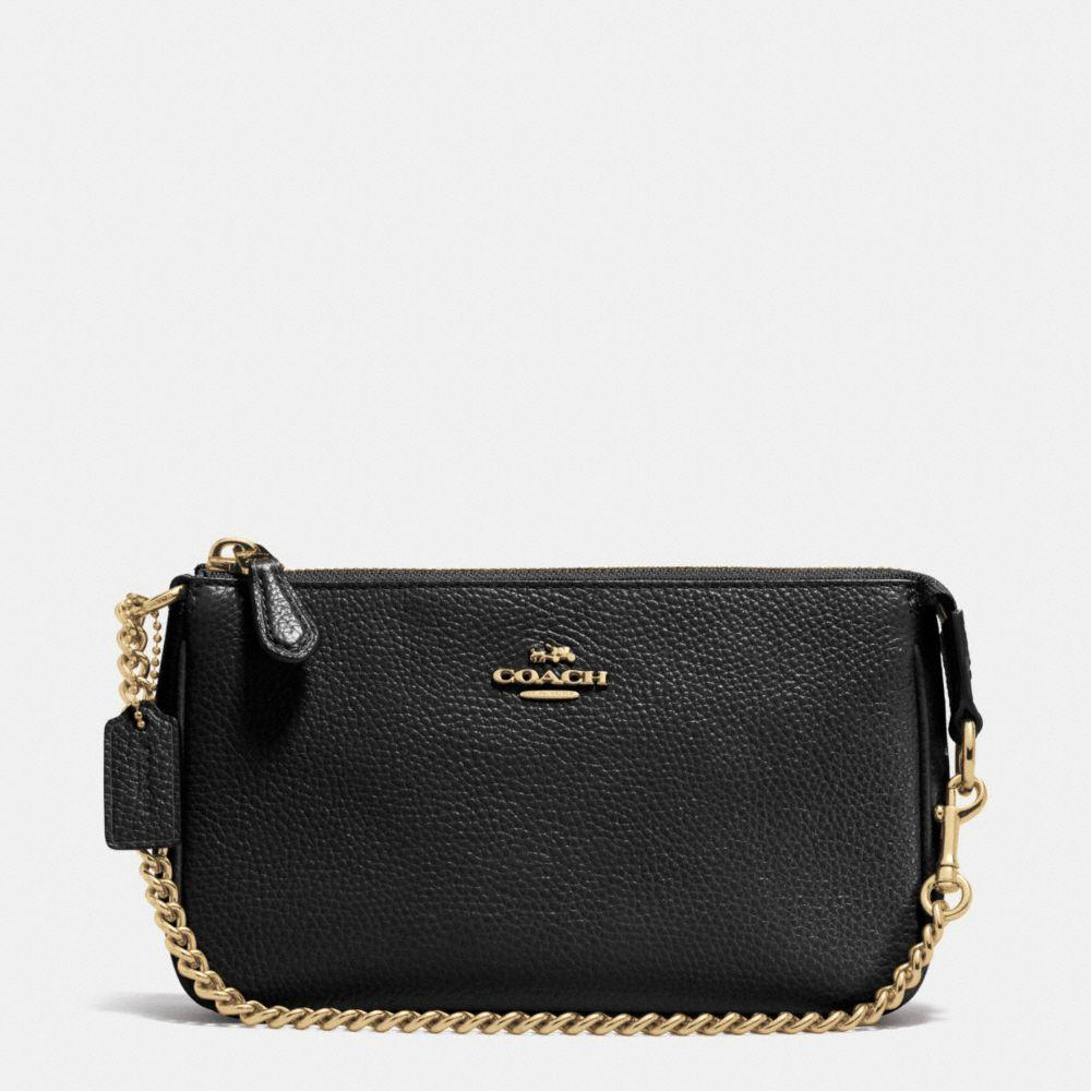 Coach Nolita Wristlet 19 In Polished Pebble Leather In Black/light Gold