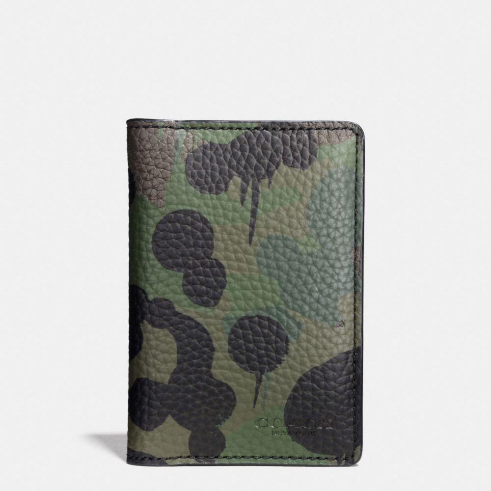 Coach Card Wallet With Wild Beast Camo Print In Military Wild Beast