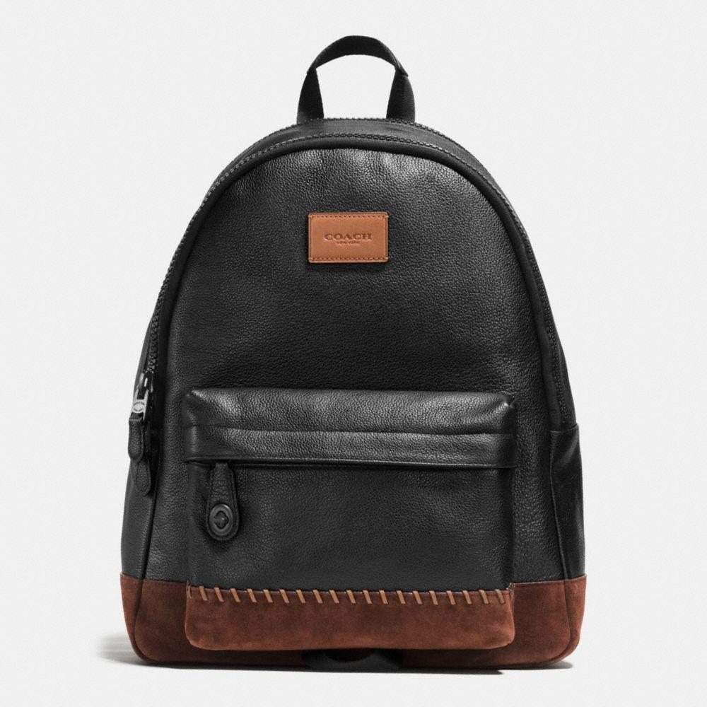 Coach Modern Varsity Campus Backpack In Pebble Leather In : Black/mahogany