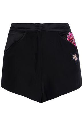 Fleur Du Mal Woman AppliquÉD Silk-Satin Pajama Shorts Black
