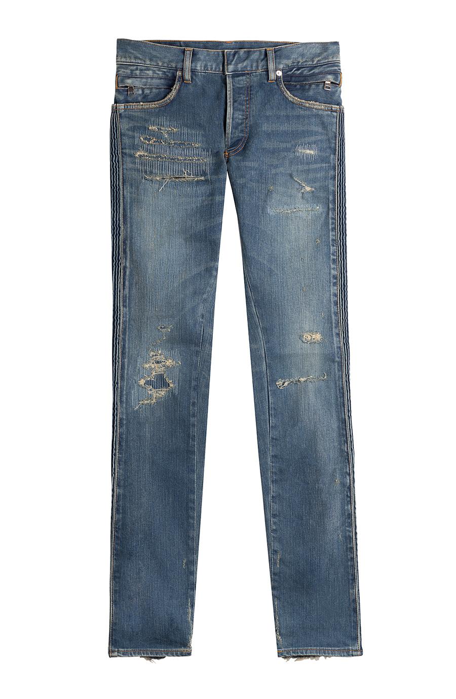Balmain Distressed Biker Jeans In Blue