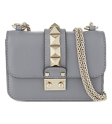 881f14431c Valentino Rockstud Lock Mini Leather Shoulder Bag In Light Stone Blue