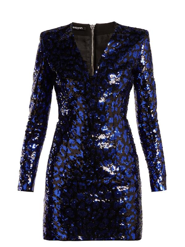 Balmain V-Neck Leopard-Print Sequin Mini Cocktail Dress In Black Blue