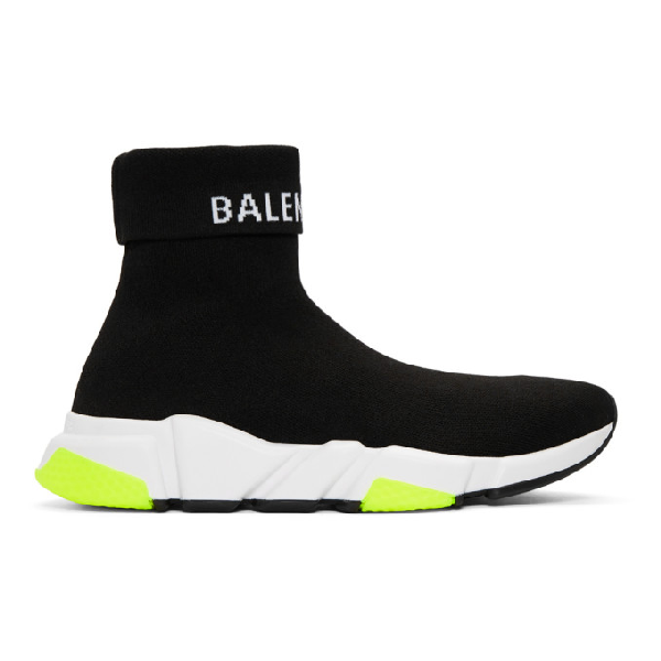 Balenciaga Speed Logo-Intarsia Stretch-Knit High-Top Sneakers In 1006Blkwht
