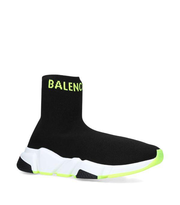 Balenciaga Black & Yellow Logo Speed Sneakers