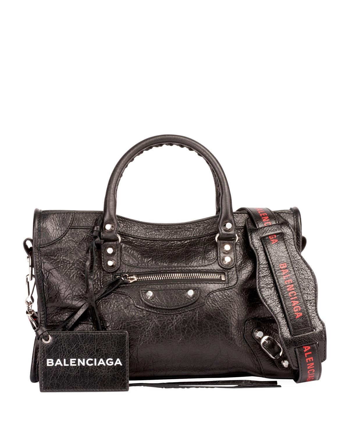 7322c2c6d4 Balenciaga Classic City Small Leather Tote Bag With Logo Strap In Black Red