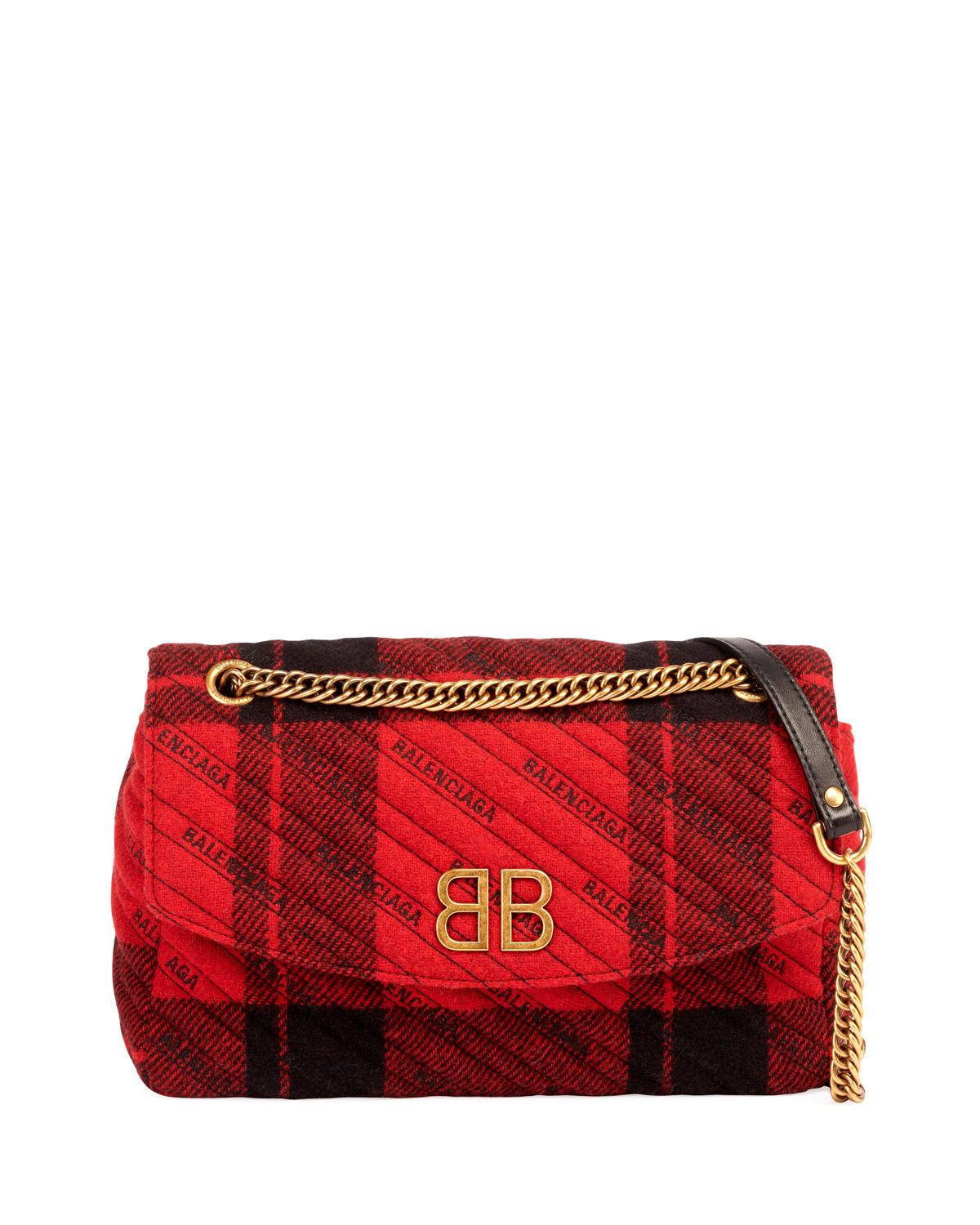 7b9c6f6426a3 Balenciaga Bb Chain Tweed Logo Wallet Shoulder Bag In Red Black ...
