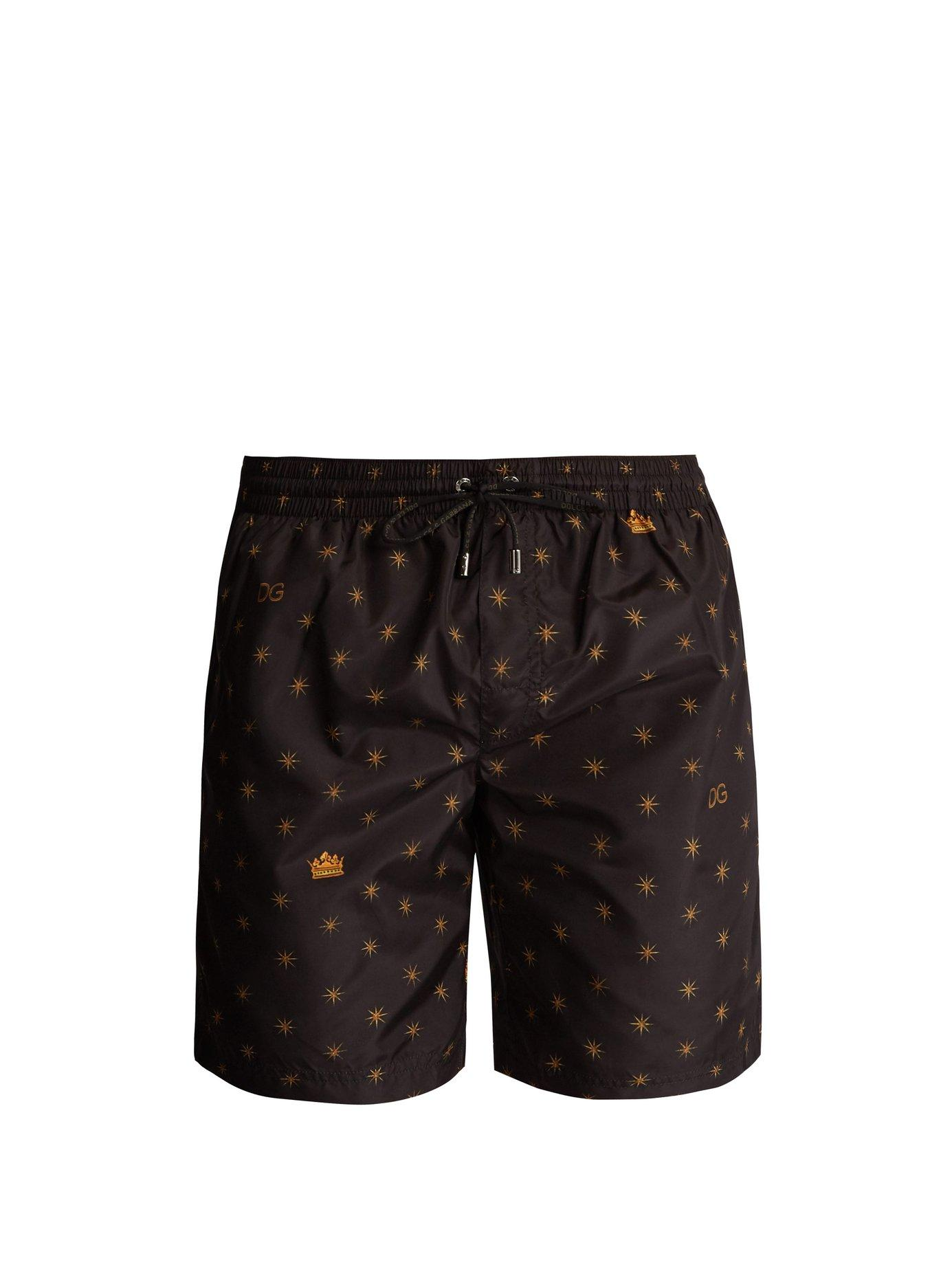 be997cf13f Dolce & Gabbana Star And Crown-Print Swim Shorts In Black | ModeSens