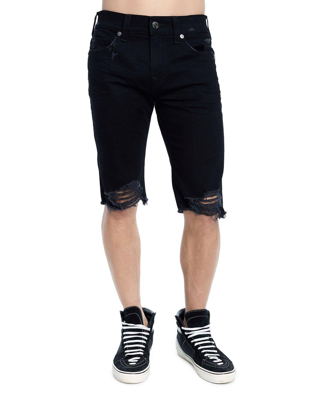 f49a9917f9 True Religion Men's Rocco Skinny Distressed Denim Shorts In Black ...