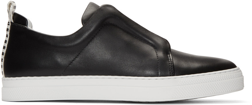 Pierre Hardy Elastic Band Leather Slip-on Sneakers In Black