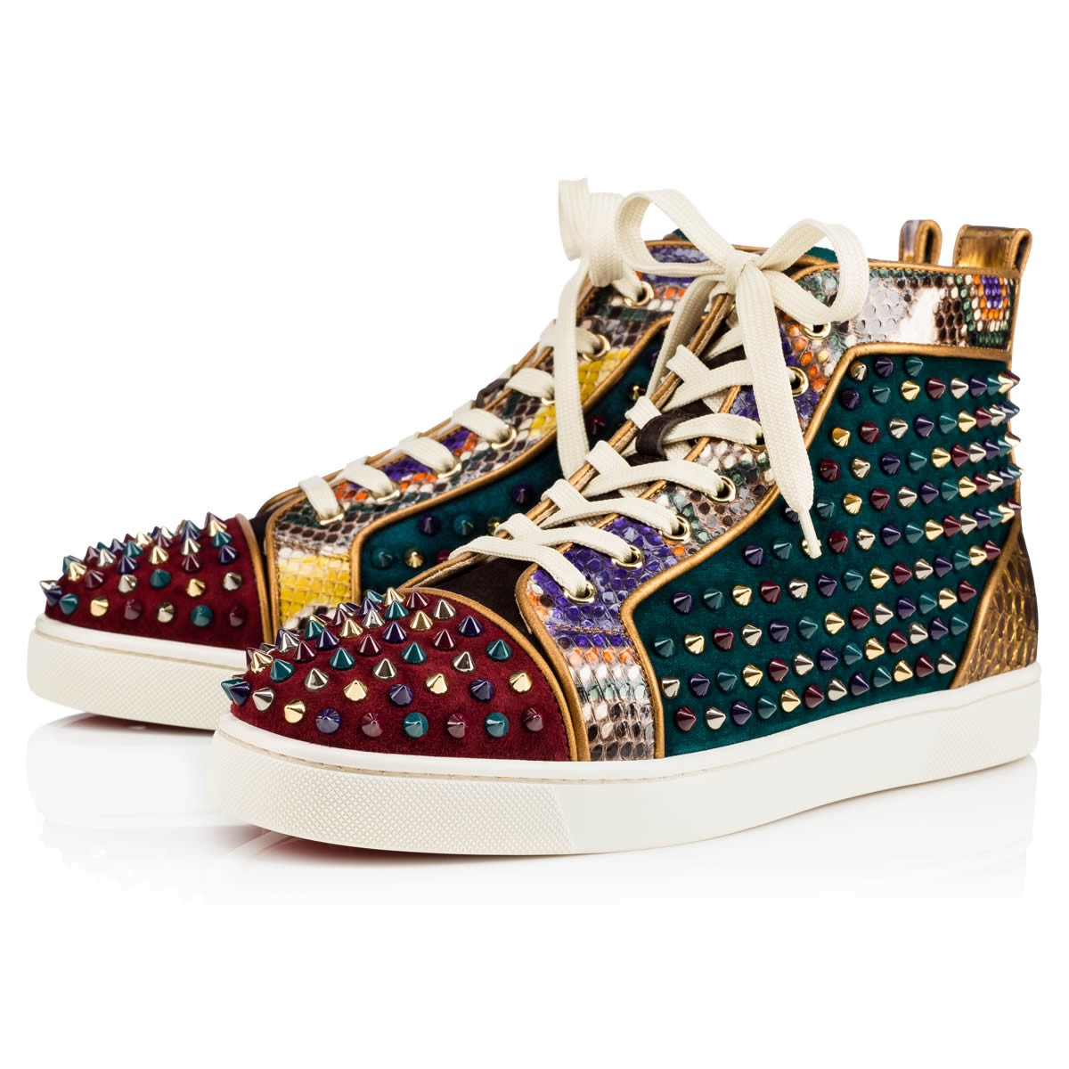check out cf390 7b44e Louis Orlato Veau Velours/Python/Spikes Multicolor Python - Men Shoes -  Christian Louboutin