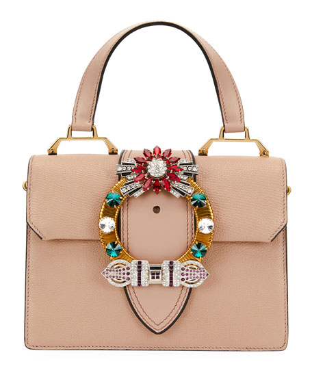45bdc5649e6 Miu Miu Madras Crystal Embellished Leather Top Handle Bag - Pink In Cammeo