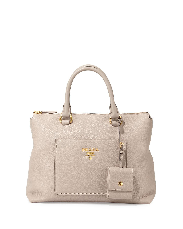 947881c2901364 Prada Vitello Daino Zip Tote Bag In Gray | ModeSens