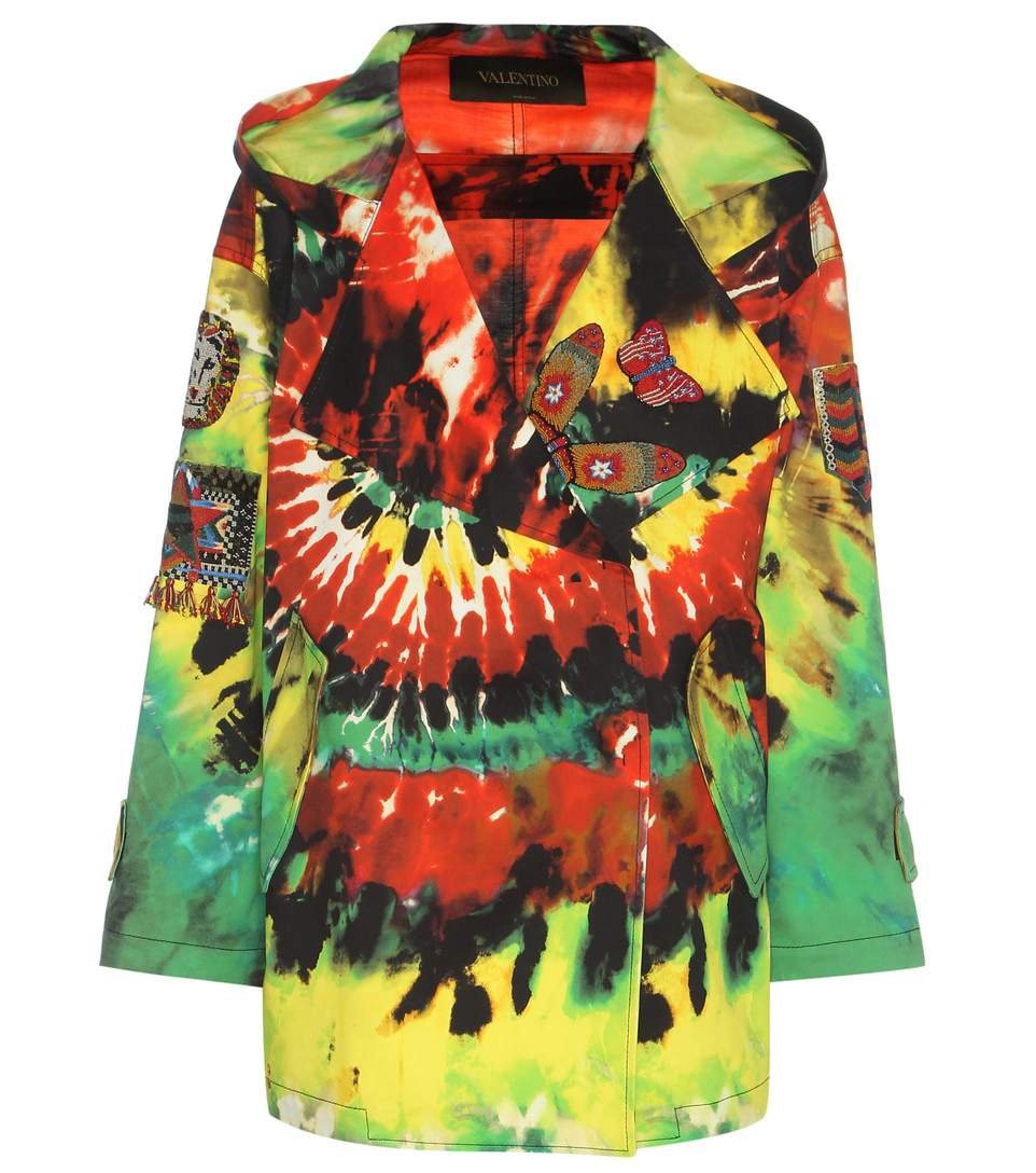 Valentino Embroidered Printed Cotton Jacket In Multicoloured